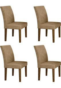 Conjunto Com 4 Cadeiras Olímpia Ipê E Bege