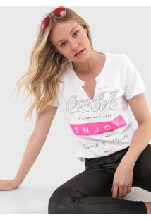 Camiseta Coca-Cola Jeans Lettering Neon Branca - Kanui