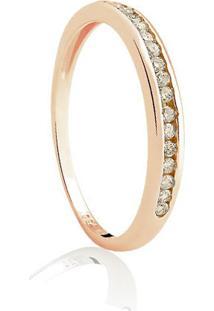 Meia Aliança Ouro Rosé E Diamantes Brown