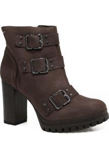cc2e7514cb Bota Cano Curto Dakota Ankle Boot Fivelas Feminina - Feminino-Marrom