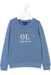 Ralph Lauren Kids Moletom Com Logo - Azul