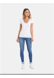 Camiseta Básica Manga Curta Malha Lunender Feminina - Feminino-Branco