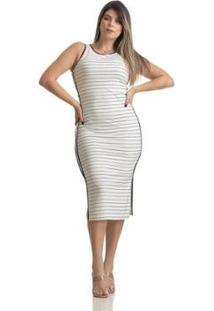 Vestido Viscolycra Regata Feminino - Feminino-Marinho+Branco