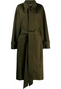 Ami Paris Trench Coat Oversized Com Cinto - Verde