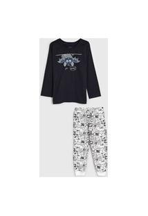 Pijama Elian Longo Infantil Estampado Azul-Marinho/Branco