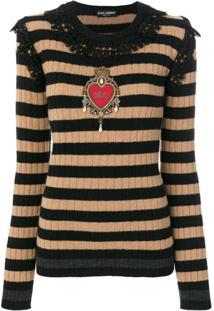 Dolce & Gabbana Pullover Com Detalhe De Renda - Preto