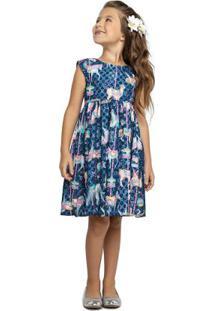 Vestido Marisol Azul Menina