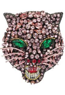 Gucci Broche Cabeça De Gato Com Cristais - Rosa
