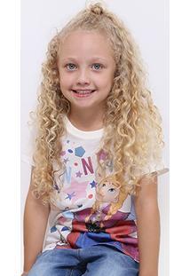 Camiseta Para Meninas Decote Redondo Poliamida infantil  8f7a09eedb4