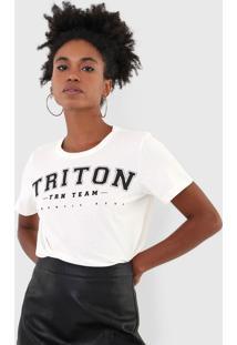 Camiseta Triton Lettering Off-White - Off White - Feminino - Algodã£O - Dafiti