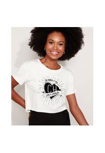 Camiseta Feminina Cropped Chapolin Flocada Manga Curta Decote Redondo Off White