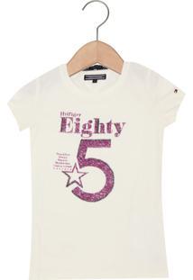 Camiseta Tommy Hilfiger Kids Manga Curta Menina Bege