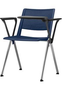 Cadeira Up Com Bracos E Prancheta Assento Azul Base Fixa Preta - 54313 Sun House