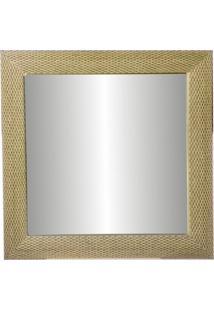 Espelho De Parede Com Moldura Tamanho 64X64Cm Trança Bege