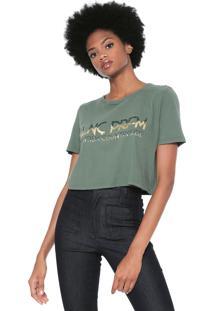 Camiseta Cropped Lança Perfume Lettering Verde