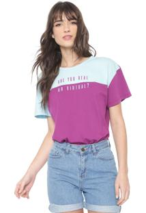 Camiseta Colcci Are You Real Roxa/Azul