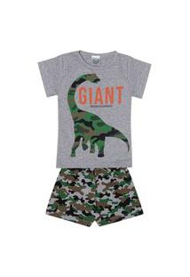 Conjunto Pijama Infantil Menino Em Meia Malha Camiseta Mescla E Bermuda Rotativa - Kontrato