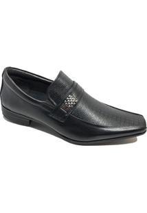 Sapato Social Calvest Em Couro Metal Com Textura - Preto - 42 - Masculino