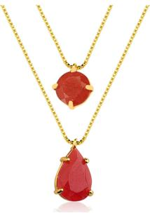 Colar Toque De Joia Pedras Jade Vermelha Amarelo