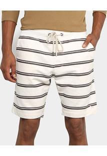 Bermuda Acostamento Resort Listras Masculina - Masculino-Off White