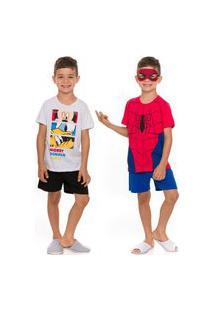 Kit 2 Pijamas Infantil Mickey E Spider Man C/ Máscara