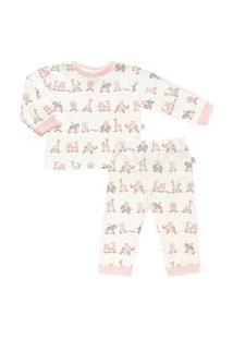 Pijama Longo Estampado Em Suedine - Anjos Baby Rosa Embaçado