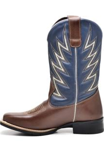Bota Sobotas Pbs Texana M7205 Café E Azul Jeans - Kanui