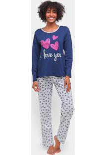 Pijama Longo Three Hands Estampado Feminino - Feminino
