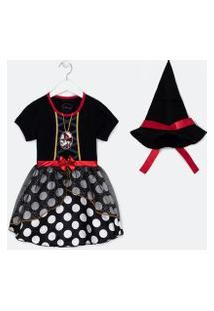 Vestido Infantil Estampa Minnie Fantasia Halloween - Tam 1 A 6 Anos | Minnie Mouse | Preto | 03
