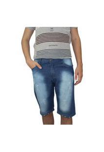 Bermuda Jeans Masculina Ecxo Azul Poida
