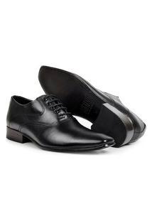 Sapato Aberdeen Classico Masculino De Amarrar Preto Solado De Couro