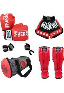 c9089f17e Kit Muay Thai Oríon Luva Bandagem Bucal Shorts Caneleira Bolsa 14 Oz -  Unissex