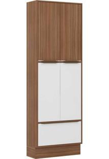 Paneleiros 5 Portas Com Rodapé 5405R Nogueira/Branco - Multimóveis