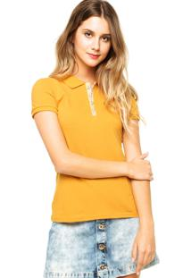 Camisa Polo Manga Curta Malwee Bordada Estampada Amarela e3bc1ebd4911d