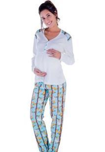 Pijama Feminino Victory Inverno Frio Gestante Mamãe Dormir - Feminino-Verde