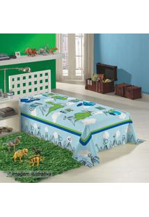 Manta Fleece Solteiro Dino- Azul Claro & Verde- 150Xlepper