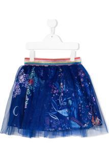 Noon By Noor Mini Minissaia Zinna Com Estampa Floral - Azul