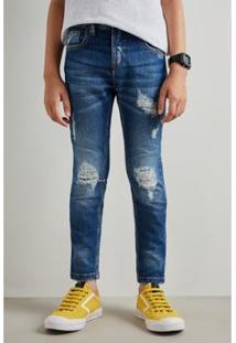 Calca Jeans Infantil Reserva Mini Pf Masculina - Masculino-Azul Petróleo
