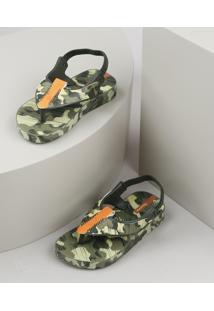 Chinelo Infantil Ipanema Estampado Camuflado Com Elástico Verde Militar