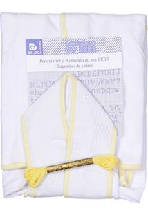 Roupão Com Capuz Para Bordar Bebenet Branco Viés Amarelo