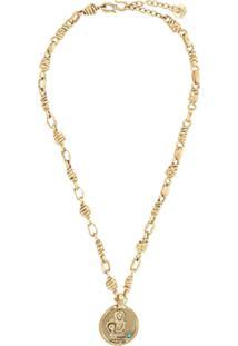 Goossens Talisman Aquarius Medal Necklace - Dourado