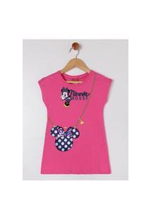 Vestido Infantil Disney Para Menina - Pink