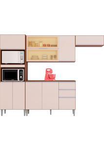 Cozinha Compacta 10 Portas E 2 Gaveta C/ Balcão Aline-Poquema - Capuccino / Off White