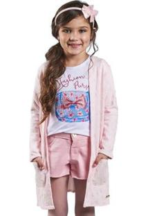 Casaco Infantil Bugbee Matelasse Feminina - Feminino-Rosa