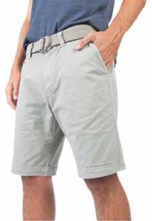 Bermuda Chino Com Cinto Masculino - Masculino-Cinza