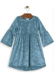 Vestido Midi Em Veludo Infantil Azul