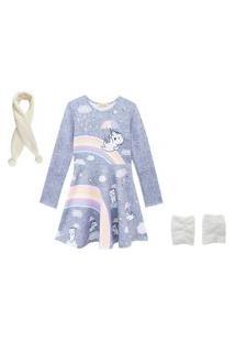 Vestido Infantil Kukiê Gatinha Com Polaina E Cachecol Cinza