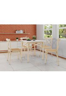 Conjunto De Mesa De Jantar Com 4 Cadeiras E Tampo De Madeira Katrina Bege