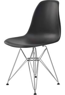 Cadeira Eames Eiffel Pp Preta Base Cromada - 44174 - Sun House