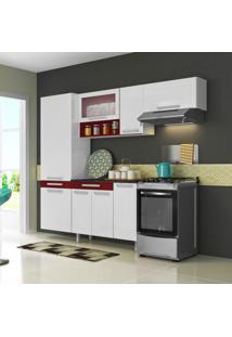 Cozinha Compacta New City 8 Pt Branco E Vermelho